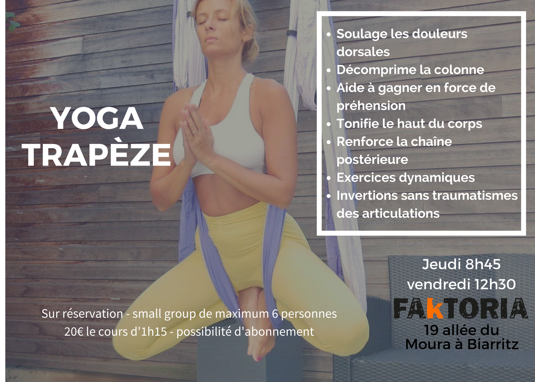 yoga fly trapeze biarritz