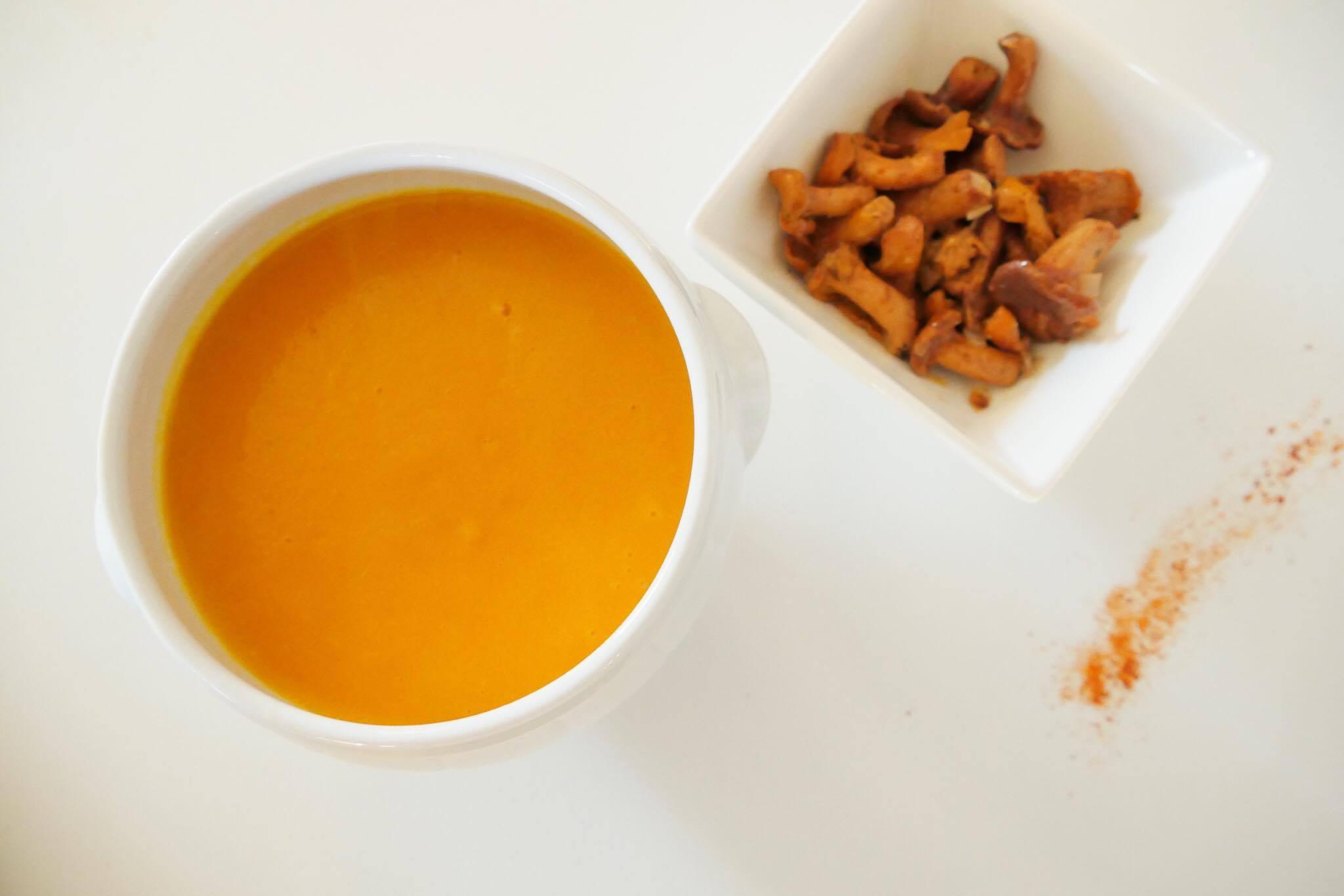 soupe potimarron vegan automne noisette girolles Biarritz